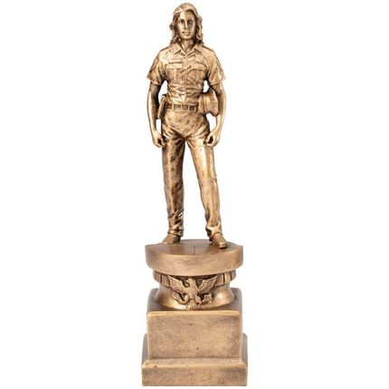 13 Inch Antiqued Gold Resin Female Police Officer Figure Trophy
