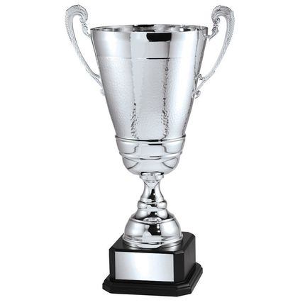24 Inch Silver Italian Trophy Cup on Black Wood Base