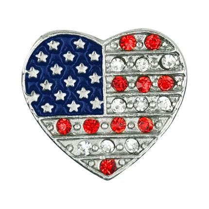 3/4 Inch Enameled and Rhinestones Heart Shaped American Flag Lapel Pin