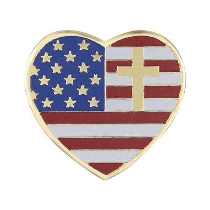 3/4 Inch Enameled Heart Shaped American Flag with Cross Lapel Pin