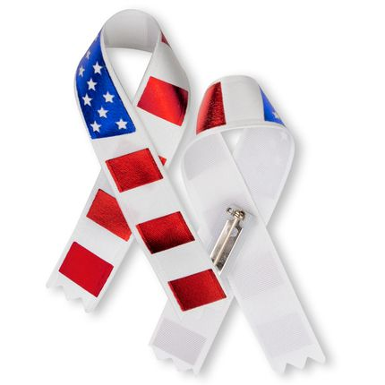 3 x 2-1/4 Inch American Flag Satin Awareness Ribbon-Safety Pin on Back