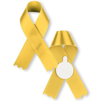 3 x 2-1/4 Inch Yellow Satin Awareness Ribbon-Support Our Troops-Tape on Back