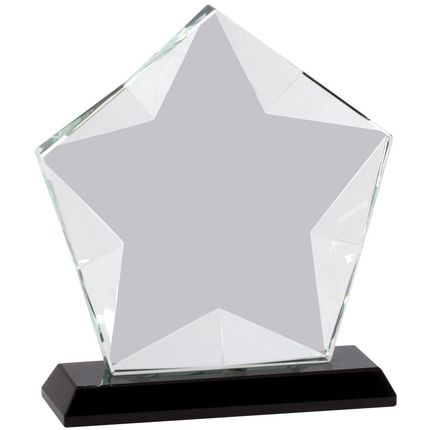 5-1/2 x 6 Inch Optical Crystal Frosted Star Award on Black Base