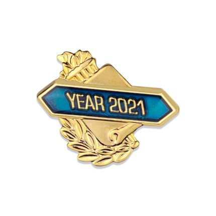"""5/8 Inch Gold """"Year 2021""""with Torch and Wreath Enameled Lapel Pin"""
