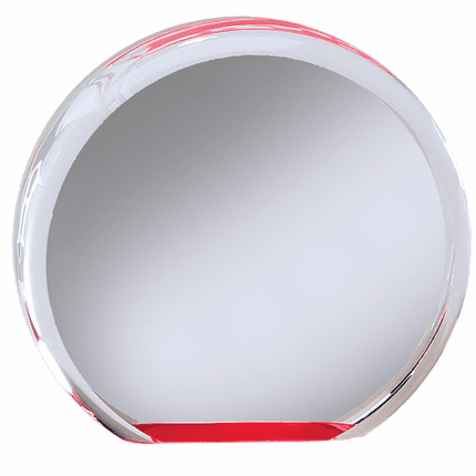 5 Inch Round Acrylic Red Reflective Mirror Base Award