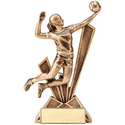 6-1/2 Inch Female Volleyball Antique Gold Resin Trophy