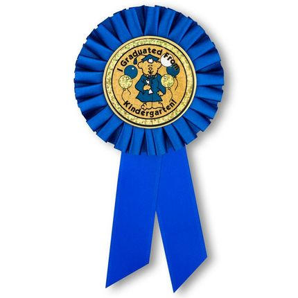 """6-1/2 x 3 Inch Blue Rosette Ribbon with 2 Inch """"I Graduated From Kindergarten!"""" Mylar Insert-Peel and Stick Back"""