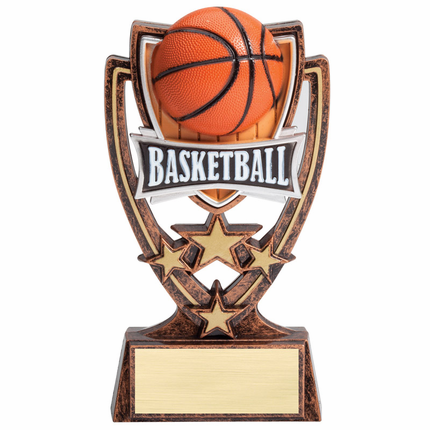 6 Inch Gold Antique Resin Star Basketball Trophy