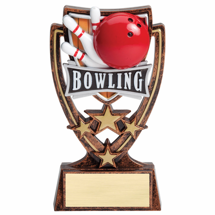 6 Inch Gold Antique Resin Star Bowling Trophy