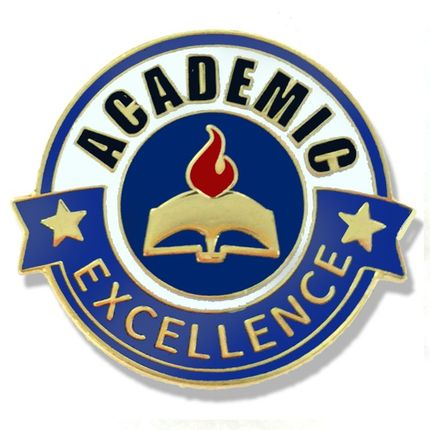 7/8 Inch Gold Enameled Academic Excellence Lapel Pin