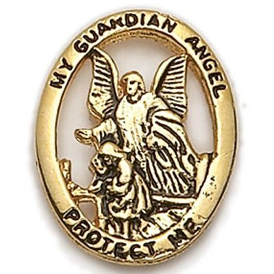 7/8 Inch Gold Antique My Guardian Angel-Protect Me Lapel Pin