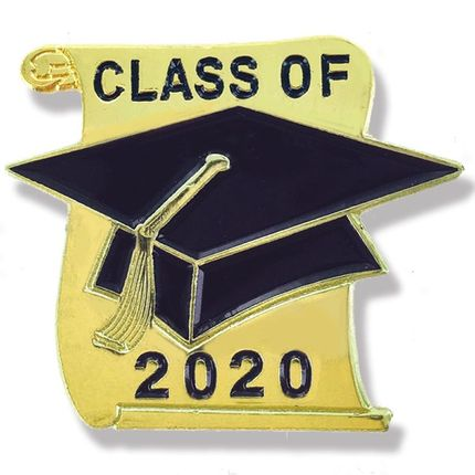 "7/8 Inch Gold Graduation Hat & Scroll ""Class of 2020"" Lapel Pin"