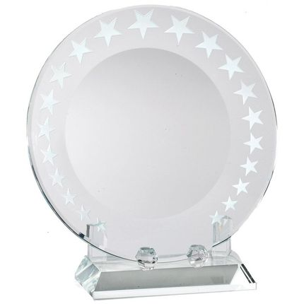 7 Inch Optical Crystal Round Trophy Plate on Crystal Stand with Stars