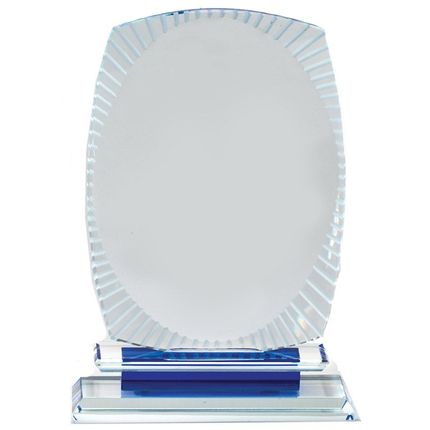 8-1/2 x 5-3/4 Inches Optical Crystal Award with Frosted Edges on Blue Base
