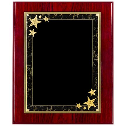 8 x 10 Inch Piano Finish Cherry Plaque with Black and Gold Florentine Star Plate