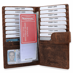 f67e0ad200b0 RFID Blocking Rustic Leather Snap Closing Credit Card Wallet