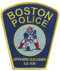 Boston Police Department Patriots Superbowl XLIX Champs Shoulder Patch