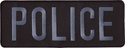 Large Gray on Black Police Back Subdued Patch