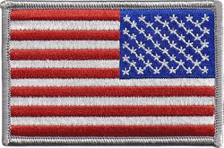 United States Flag with Silver Boarder Military Patch