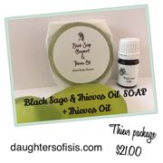 Black Sage & Thieves Oil soap with Thieves Oil package.