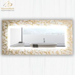 Artistic White and Gold Double High End Mirror