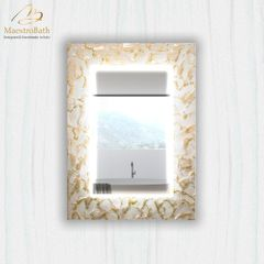 Artistic White and Gold Single High End Mirror