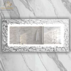 Artistic White and Silver Double High End Mirror