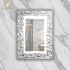 Artistic White and Silver Single High End Mirror
