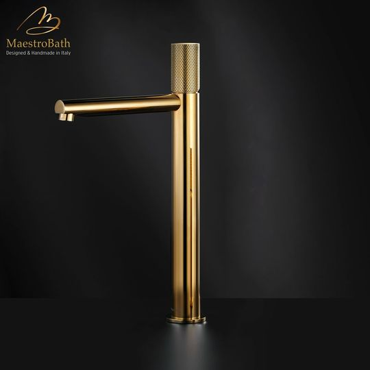 AUX High Bathroom Faucet | Polished Gold
