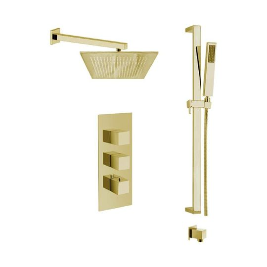 Modern Italian Shower System Polished Gold
