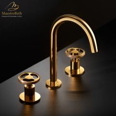 Country 3-Hole Luxury Bathroom Faucet   Polished Gold