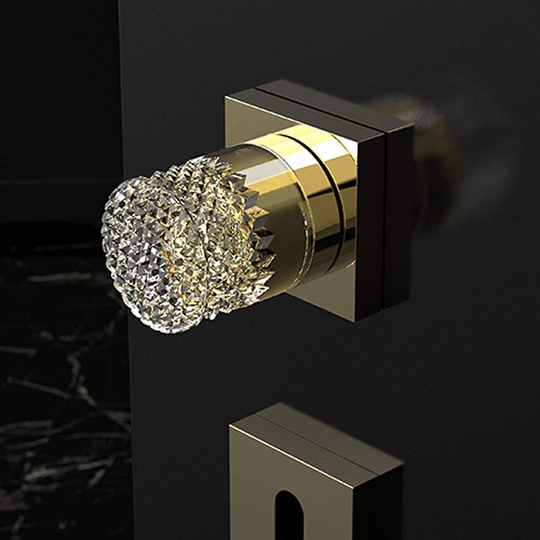Handmade Crystal Door Knobs | Gold