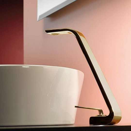 Italian Designer Vessel Sink Faucet | Polished Gold