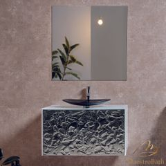Lucent Luxury Crystal Wave Mirror Single Vanity