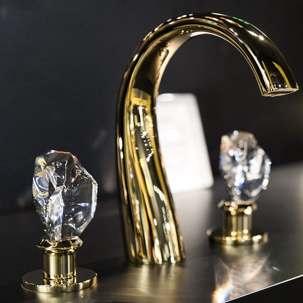 Lux Crystal 3 Hole Bathroom Faucet