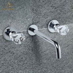 Lux Crystal Wall Mount Bathroom Faucet | Polished Chrome