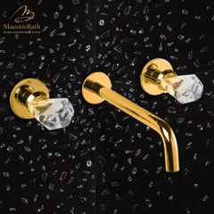 Lux Crystal Wall Mount Bathroom Faucet | Polished Gold