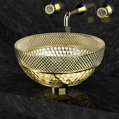 Luxury Gold Crystal Vessel Sink