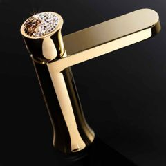 Luxury Swarovski Crystal Bathroom Faucet Polished Gold