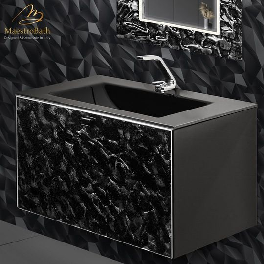 Luxury Wallmount Bathroom Vanity | Black Silver