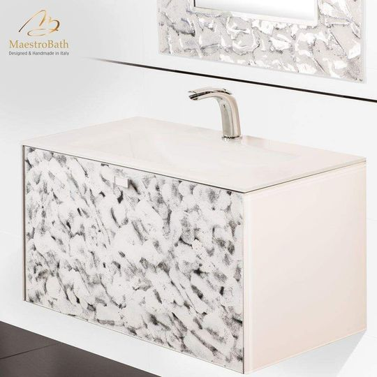 Luxury Wallmount Bathroom Vanity | White Silver