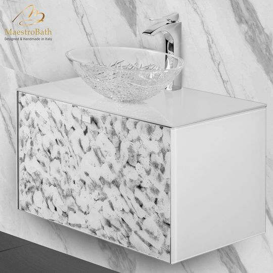 High-end Murano Crystal Bathroom Vanity | White Silver