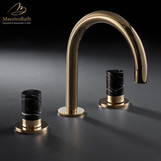 Marble 3-Hole Luxury Bathroom Faucet | Polished Gold