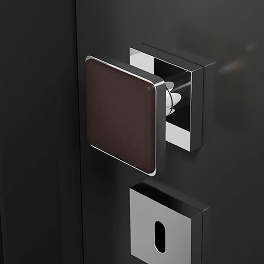 Modern Leather Door Knob | Black and Chrome