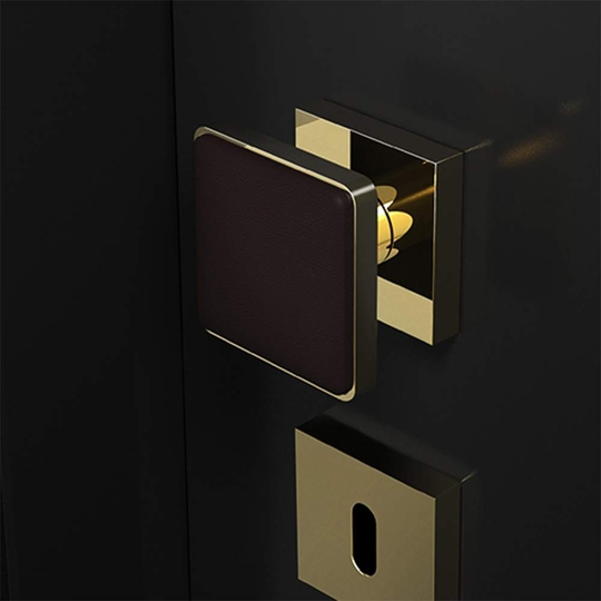 Modern Leather Door Knob | Black and Gold