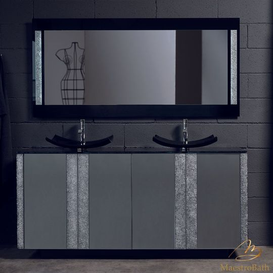 Princess Luxury Crystal Vetro Grey and Silver Double Vanity