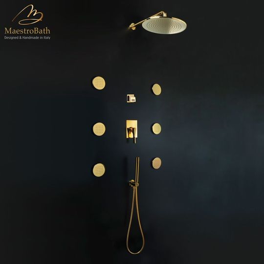 Skip Diamond Complete Shower Set Polished Gold