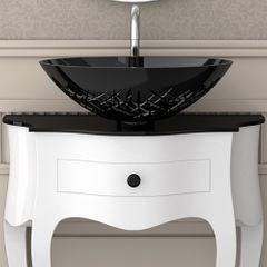 Small Crystal Vessel Bathroom Sink | Black