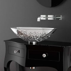 Small Crystal Vessel Bathroom Sink | Transparent