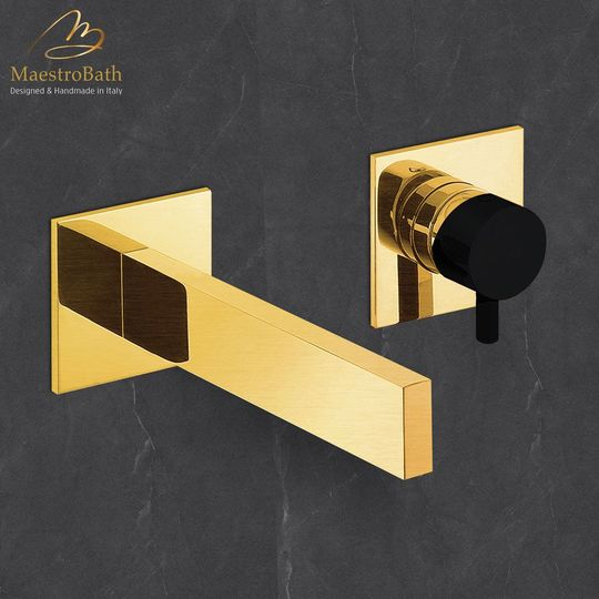 Ultra Modern Two Hole Bathroom Faucet   Brushed Gold